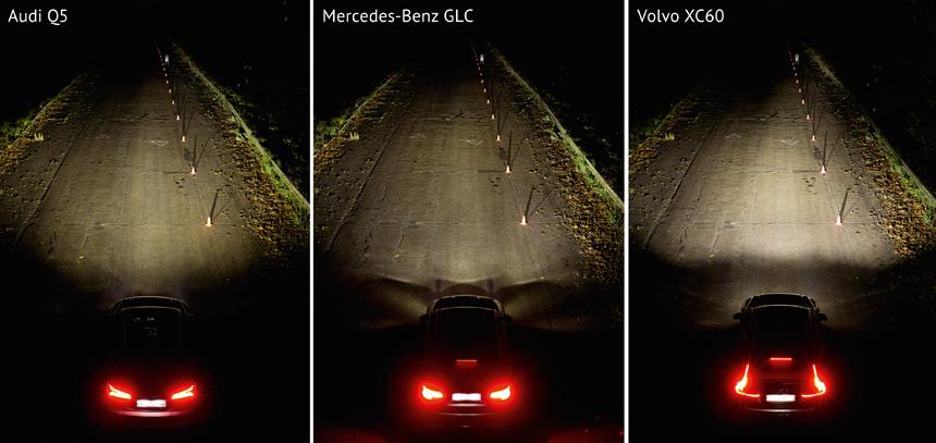 Ближний свет, пешеход стоит в 80 метрах от автомобиля