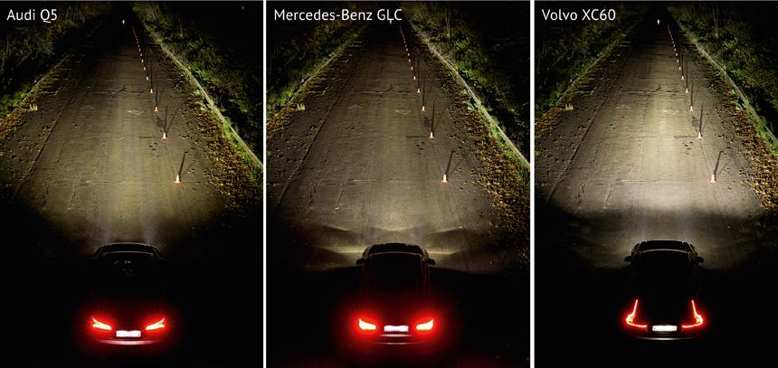 Дальний свет, пешеход стоит в 160 метрах от автомобиля